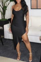 Black Fashion Sexy Solid Backless Slit Spaghetti Strap Evening Dress