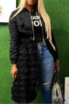 Black Casual Patchwork Mesh Zipper Collar Outerwear