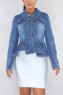 Light Blue Street Solid Turndown Collar Outerwear