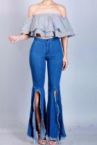 Dark Blue Denim Zipper Fly Button Fly High Solid washing Hole Zippered Boot Cut Pants