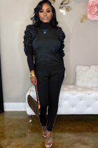 Black Celebrities Two Piece Suits Solid Stringy selvedge pencil Long Sleeve Two-piece Pants Set