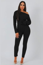 Black Elastic Fly Long Sleeve Mid Solid pencil Pants Two-piece suit