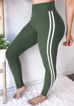 Army Green Solid Pencil Pants Midweight Pants