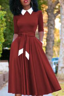 Wine Red Vintage Solid Bandage Turndown Collar Pleated Dresses