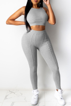 Grey Casual Sportswear Solid Vests Pants O Neck Sleeveless Two Pieces