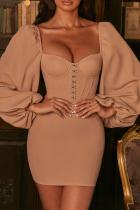 Cream White Street Solid Split Joint Square Collar Pencil Skirt Dresses