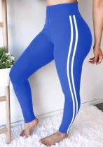 Blue Solid Pencil Pants Midweight Pants