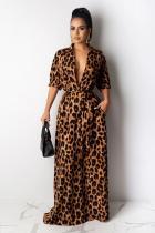 Leopard print Fashion adult Sexy Cap Sleeve Half Sleeves Turndown Collar Step Skirt Ankle-Length Print L