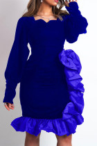Blue Fashion Casual Solid Split Joint Square Collar Evening Dress
