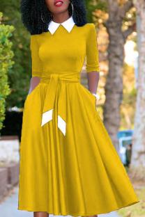 Yellow Vintage Solid Bandage Turndown Collar Pleated Dresses