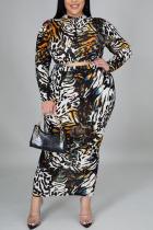 Leopard Print Casual Print O Neck Plus Size