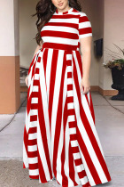 Red Sexy Striped Split Joint O Neck Plus Size