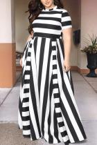 Black Sexy Striped Split Joint O Neck Plus Size