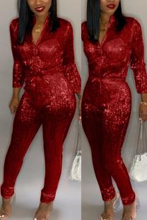 Red Trendy Zipper Design Blending One-piece Jumpsuit
