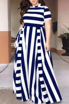 Tibetan Blue Sexy Striped Split Joint O Neck Plus Size