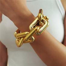 Gold Fashion Simplicity Square Geometric Hollow Bracelets