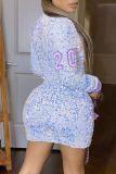 Blue Sexy Print Sequins Split Joint Zipper O Neck A Line Dresses