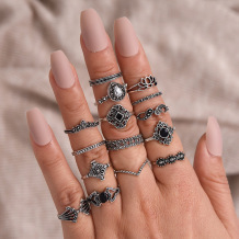 Silver Fashion Vintage Hollow Fifteen Pieces Rings