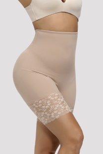 Apricot Fashion Sexy Solid Hip Lifting And Belly Shaping Safety Pants