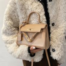 Khaki Fashion Casual Solid Messenger Bag