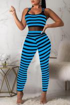 Blue Sexy Striped Split Joint Spaghetti Strap Regular Jumpsuits