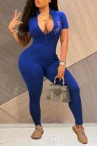 Blue Sexy Print O Neck Regular Jumpsuits