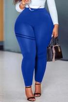 Blue Casual Sportswear Solid Basic Skinny High Waist Trousers