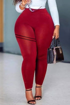 Red Casual Sportswear Solid Basic Skinny High Waist Trousers