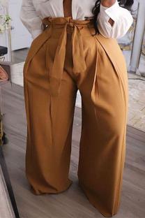 Khaki Fashion Casual Solid Plus Size