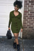 Army Green Polyester Sexy Cap Sleeve Long Sleeves Hooded Step Skirt Knee-Length chain Patchwork Solid