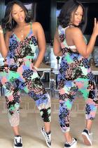 Dark Blue Fashion Casual Print Polyester Sleeveless V Neck Jumpsuits