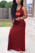 Wine Red Polyester Fashion Casual adult White Black Wine Red purple Off The Shoulder Sleeveless O neck Swagger Ankle-Length Print Patchwork lip Dresses