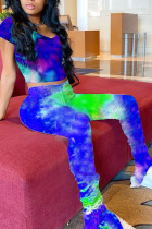 Blue venetian Fashion Sexy Tie Dye Two Piece Suits pencil Short Sleeve Two Pieces
