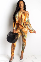 Mustard yellow Polyester Sexy Print Two Piece Suits pencil Long Sleeve