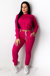 rose red Polyester Casual Fashion adult Bandage Two Piece Suits Solid Straight Long Sleeve  Two-piece Pants S
