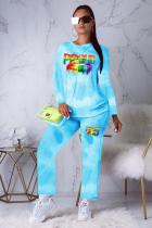 Blue Polyester Active Print Straight Long Sleeve  Two-piece Pants Set