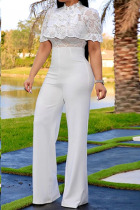 White Fashion Sexy lace Solid Knitting Short Sleeve O Neck Jumpsuits