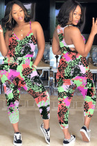 Green Fashion Casual Print Polyester Sleeveless V Neck Jumpsuits