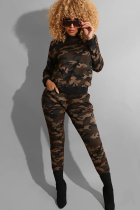 Camouflage Polyester Street Fashion adult Camouflage Two Piece Suits Print pencil Long Sleeve  Two-piece Pants