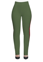 Army Green Casual Active Patchwork Flat Straight Midweight Pants