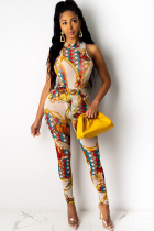 White Polyester Fashion Ma'am adult Sexy Two Piece Suits Print Patchwork pencil Sleeveless  Two-piece Pant