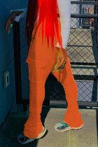 Orange Black Green Pink Orange Yellow Fluorescent green Polyester Drawstring Sleeveless Mid Patchwork Solid Pocket Draped Boot Cut Pants Bottoms
