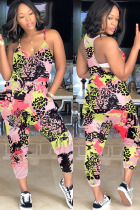 rose red Fashion Casual Print Polyester Sleeveless V Neck Jumpsuits