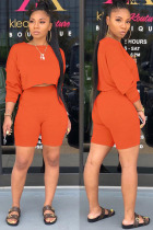 Orange Polyester Fashion Street Patchwork Solid Two Piece Suits Straight Long Sleeve Two Pieces