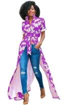 purple Fashion O-Neck Regular Short Print Long Blouses & Shirts