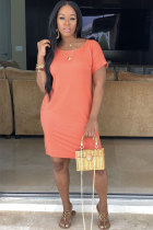 Orange Sexy Casual Fashion Cap Sleeve Short Sleeves O neck Straight Knee-Length Solid Pocket Patchwork  Cas