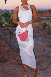 White Casual Solid Split Joint See-through O Neck A Line Dresses