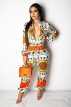 Multi-color Sexy Fashion Print zipper Patchwork Polyester Long Sleeve V Neck  Jumpsuits