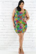 Multi-color Polyester Fashion Casual adult Square Collar Patchwork Print Character Pattern Plus Size