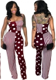 Red Jujube Backless Patchwork Fashion sexy Jumpsuits & Rompers